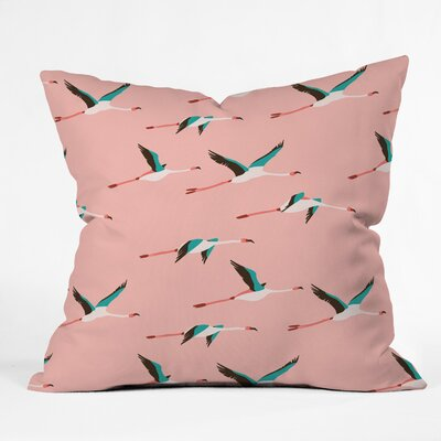Flamingo Throw Pillow Size: 18 H x 18 W x 5 D, Color: Pink