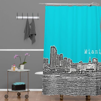 Bird Ave Miami Shower Curtain Color: Teal