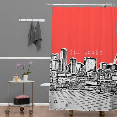 Bird Ave St Louis Shower Curtain Color: Red