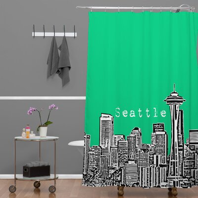 Bird Ave Seattle Shower Curtain Color: Green
