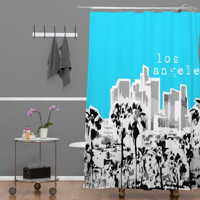 Bird Ave Los Angeles Shower Curtain Color: Aqua