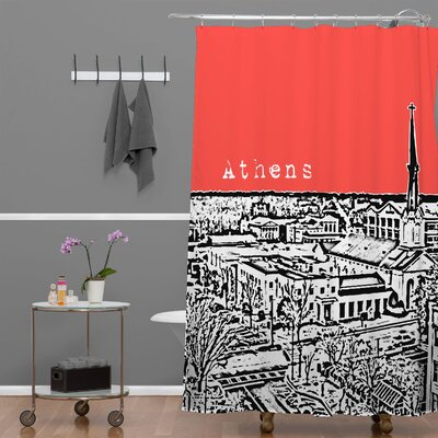 Bird Ave Athens Shower Curtain Color: Red