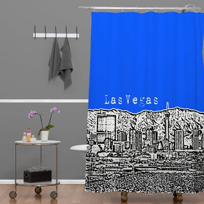 Bird Ave Las Vegas Shower Curtain Color: Royal