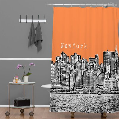 Bird Ave New York Shower Curtain Color: Orange
