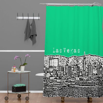 Bird Ave Las Vegas Shower Curtain Color: Green