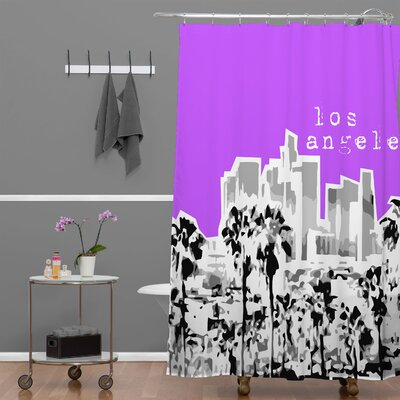 Bird Ave Los Angeles Shower Curtain Color: Purple