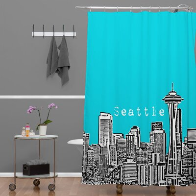 Bird Ave Seattle Shower Curtain Color: Teal