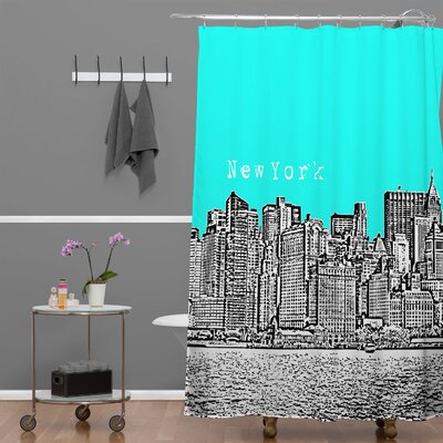 Bird Ave New York Shower Curtain Color: Aqua