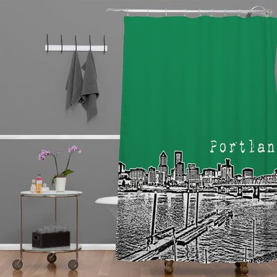Bird Ave Portland Shower Curtain Color: Green