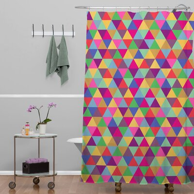 Bianca Green Love with Triangles Shower Curtain