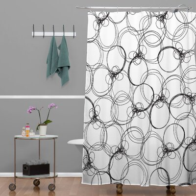 Rachael Taylor Circles Shower Curtain Color: White Black Circles