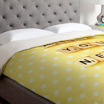 Happee Monkee All You Need Is Love 1 Duvet Cover Size: King, Fabric: Lightweight