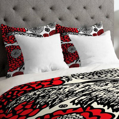 Julia Da Rocha Raven Rose Duvet Cover Size: Queen, Fabric: Lightweight