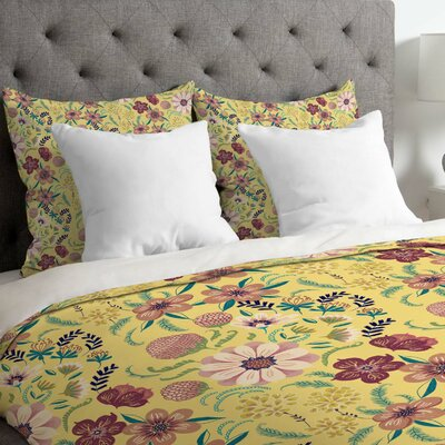 Pimlada Phuapradit Canary Floral Duvet Cover Size: King, Fabric: Lightweight