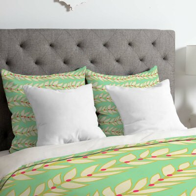 Jacqueline Maldonado Leaf Dot Stripe Mint Duvet Cover Size: Queen, Fabric: Lightweight