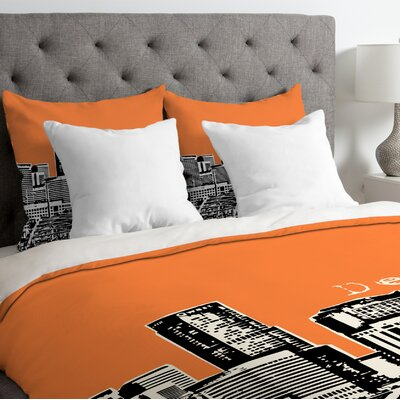 Bird Ave Lightweight Denver Duvet Cover Size: King, Color: Orange