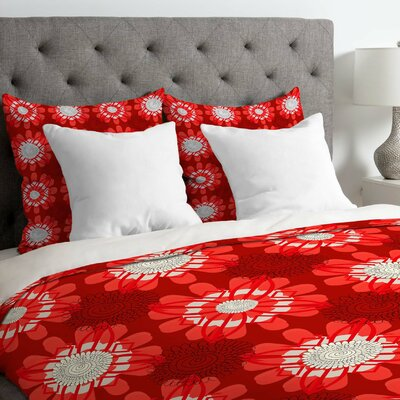 Julia Da Rocha Retro Flowers Duvet Cover Size: King, Fabric: Lightweight