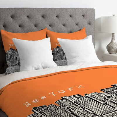 Bird Ave Lightweight New York Duvet Cover Color: Orange, Size: King