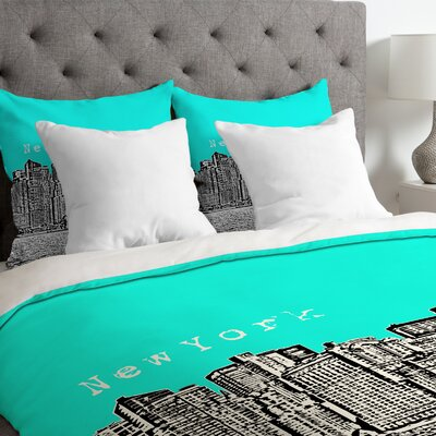 Bird Ave Lightweight New York Duvet Cover Size: Queen, Color: Aqua