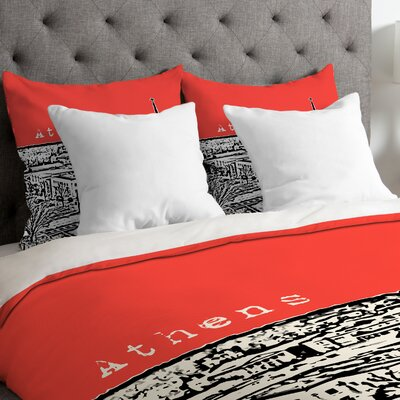Bird Ave Lightweight Athens Duvet Cover Color: Red, Size: Queen