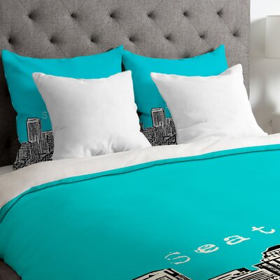 Bird Ave Lightweight Seattle Duvet Cover Color: Teal, Size: Queen