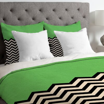 Bianca Green Lightweight Follow the Sky Duvet Cover Size: Queen, Color: Green