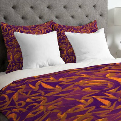 Wagner Campelo Lightweight Abstract Garden Duvet Cover Color: Purple, Size: Twin