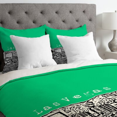 Bird Ave Lightweight Las Vegas Duvet Cover Size: Queen, Color: Green