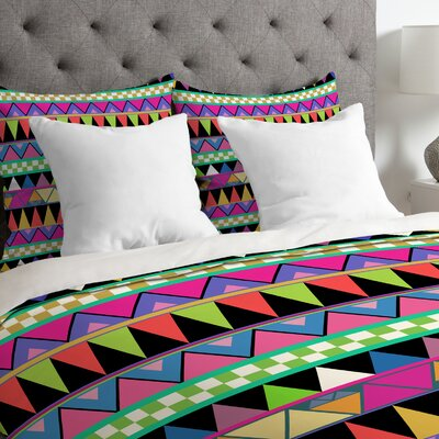 Bianca Green Lightweight Zigzag Duvet Cover Size: Queen