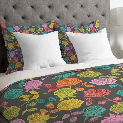 Bianca Green Lightweight Roses Duvet Cover Size: Queen