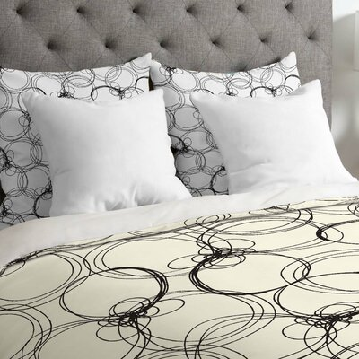 Rachael Taylor Lightweight Circles Duvet Cover Size: Queen, Color: White and Gray