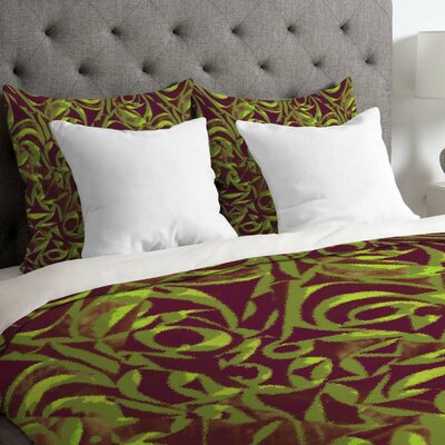 Wagner Campelo Lightweight Abstract Garden Duvet Cover Size: Queen, Color: Brown