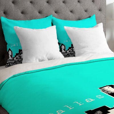 Bird Ave Lightweight Dallas Duvet Cover Size: King, Color: Aqua