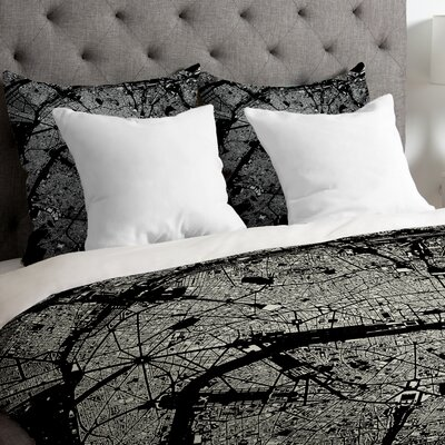CityFabric Inc Lightweight Paris Duvet Cover Size: Twin, Color: Black