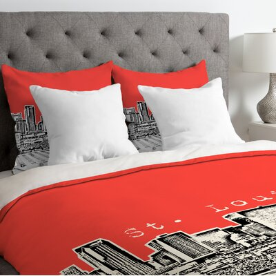 Bird Ave Lightweight St Louis Duvet Cover Color: Red, Size: King