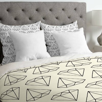 Wesley Bird Lightweight Diamond Print Duvet Cover Size: Twin, Color: White