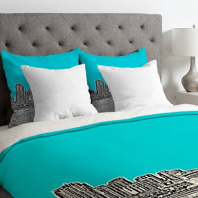 Bird Ave Lightweight Miami Duvet Cover Color: Teal, Size: Queen