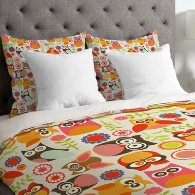 Valentina Ramos Lightweight Cute Little Owls Duvet Cover Size: Twin