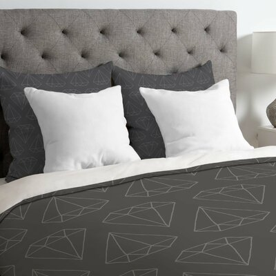 Wesley Bird Lightweight Diamond Print Duvet Cover Color: Black, Size: Queen