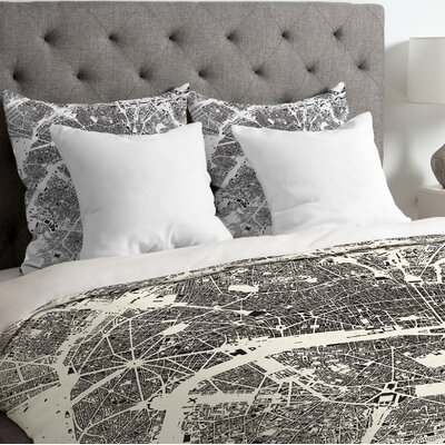 CityFabric Inc Lightweight Paris Duvet Cover Color: White, Size: Queen