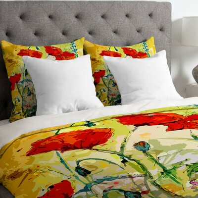 Ginette Fine Art Lightweight Poppies Provence Duvet Cover Size: King