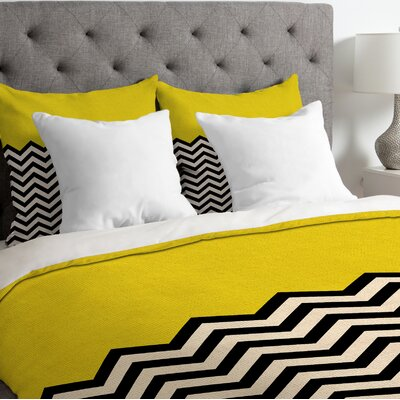 Bianca Green Lightweight Follow the Sky Duvet Cover Size: King, Color: Yellow