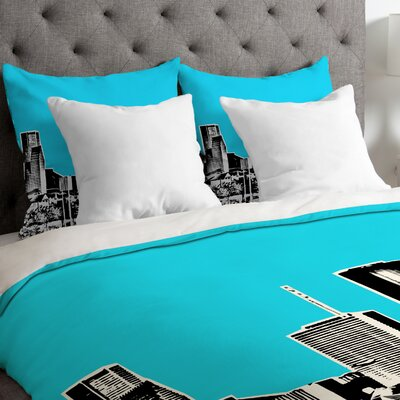 Bird Ave Lightweight Houston Duvet Cover Color: Sky, Size: Queen