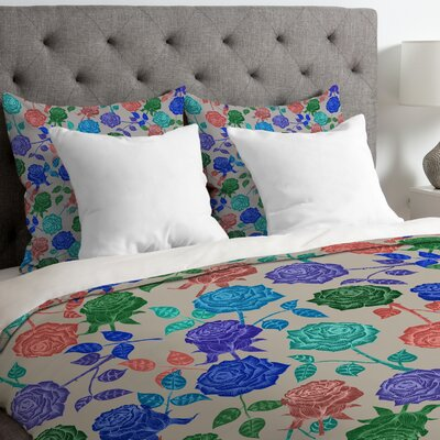 Bianca Green Lightweight Roses Blue Duvet Cover Size: Queen