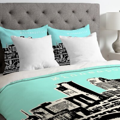Bird Ave Lightweight Minneapolis Duvet Cover Size: Queen, Color: Sky