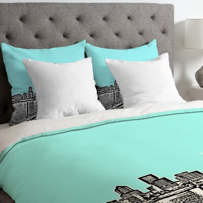 Bird Ave Lightweight Portland Duvet Cover Color: Ice, Size: King