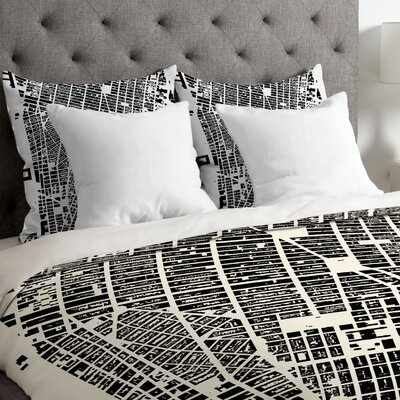 CityFabric Inc Lightweight NYC Duvet Cover Size: Queen, Color: White