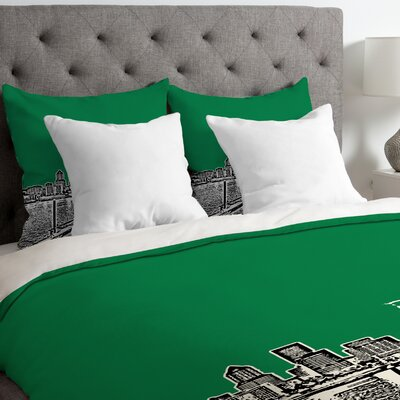 Bird Ave Lightweight Portland Duvet Cover Size: Twin, Color: Green