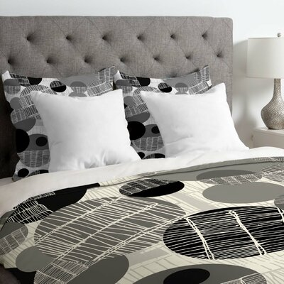 Rachael Taylor Lightweight Textured Geo Duvet Cover Size: King, Color: Black and White