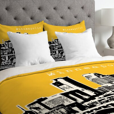 Bird Ave Lightweight Minneapolis Duvet Cover Color: Yellow, Size: Queen